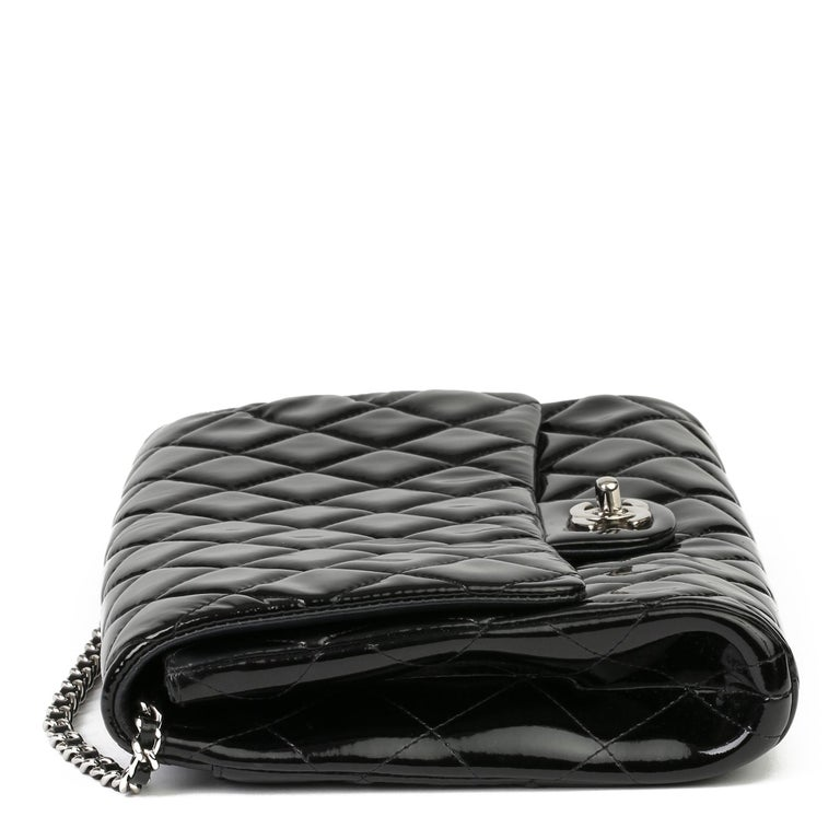 2012 Chanel Black Quilted Patent Leather Classic Clutch on Chain In Excellent Condition In Bishop's Stortford, Hertfordshire