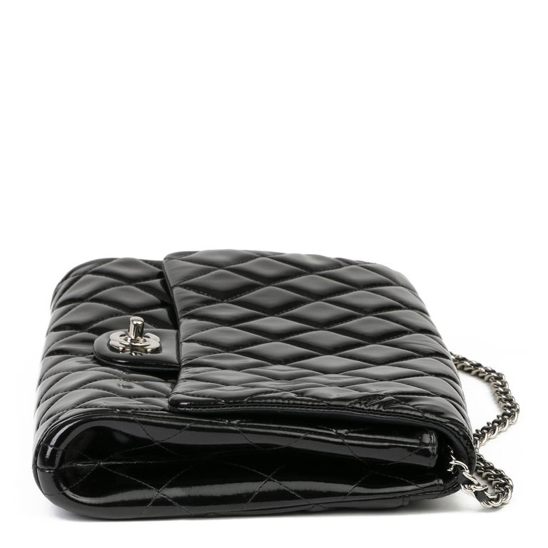 Women's 2012 Chanel Black Quilted Patent Leather Classic Clutch on Chain