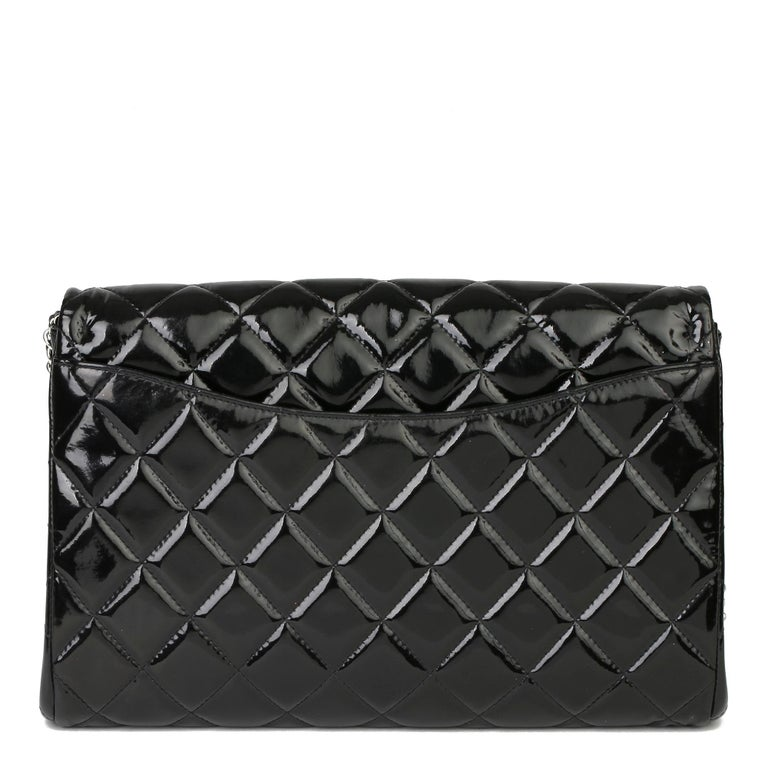 2012 Chanel Black Quilted Patent Leather Classic Clutch on Chain 1