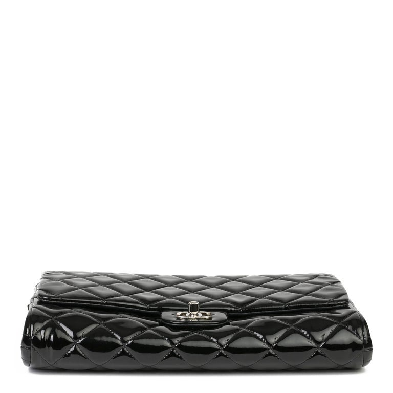 2012 Chanel Black Quilted Patent Leather Classic Clutch on Chain 2