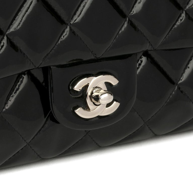 2012 Chanel Black Quilted Patent Leather Classic Clutch on Chain 3
