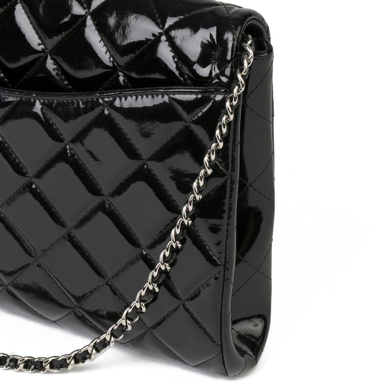2012 Chanel Black Quilted Patent Leather Classic Clutch on Chain 4