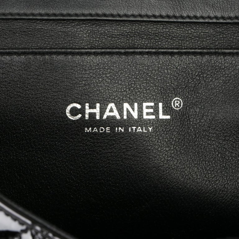 2012 Chanel Black Quilted Patent Leather Classic Clutch on Chain 5