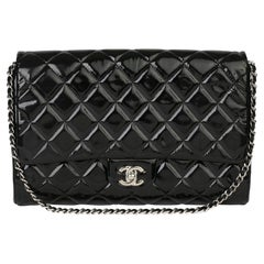 2012 Chanel Black Quilted Patent Leather Classic Clutch on Chain