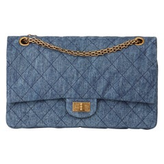 2012 Chanel Blue Quilted Denim 2.55 Reissue 226 Double Flap Bag