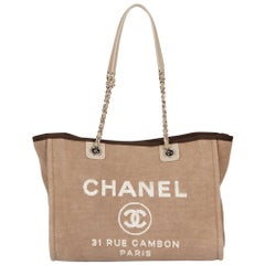 2012 Chanel Brown Canvas Small Deauville Tote