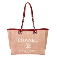 2012 Chanel Red Canvas & Calfskin Leather Small Deauville Tote