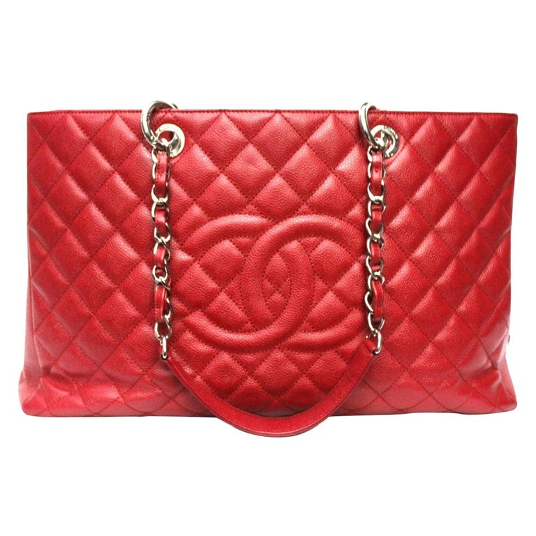 2012 Chanel Red Leather GST Bag For Sale