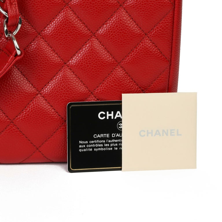2012 Chanel Red Quilted Caviar Leather Grand Shopping Tote XL For Sale 8