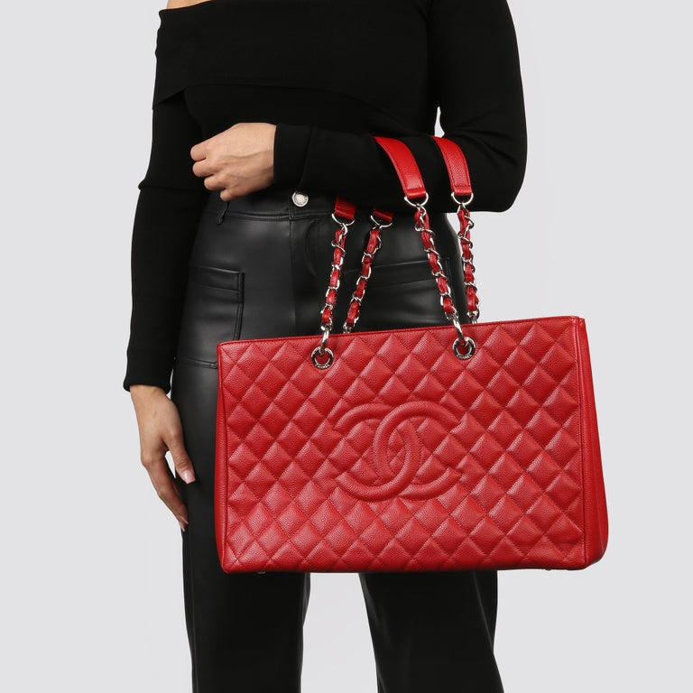 2012 Chanel Red Quilted Caviar Leather Grand Shopping Tote XL For Sale 9