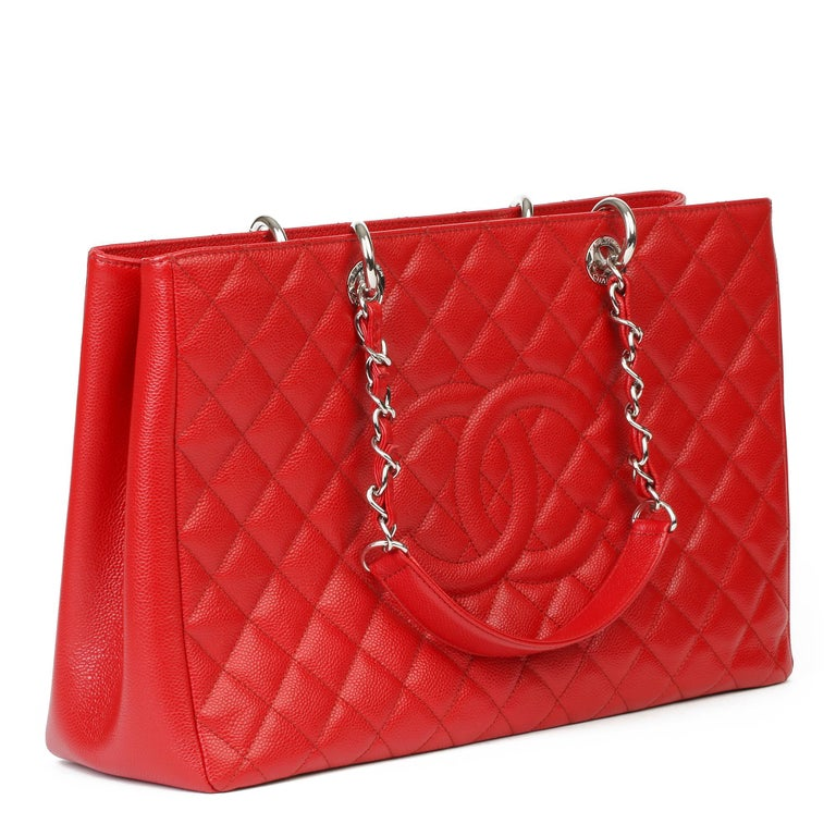CHANEL Red Quilted Caviar Leather Grand Shopping Tote XL  Xupes Reference: HB3952 Serial Number: 17232833 Age (Circa): 2012 Accompanied By: Authenticity Card, Care Booklet Authenticity Details: Authenticity Card, Serial Sticker (Made in Italy)