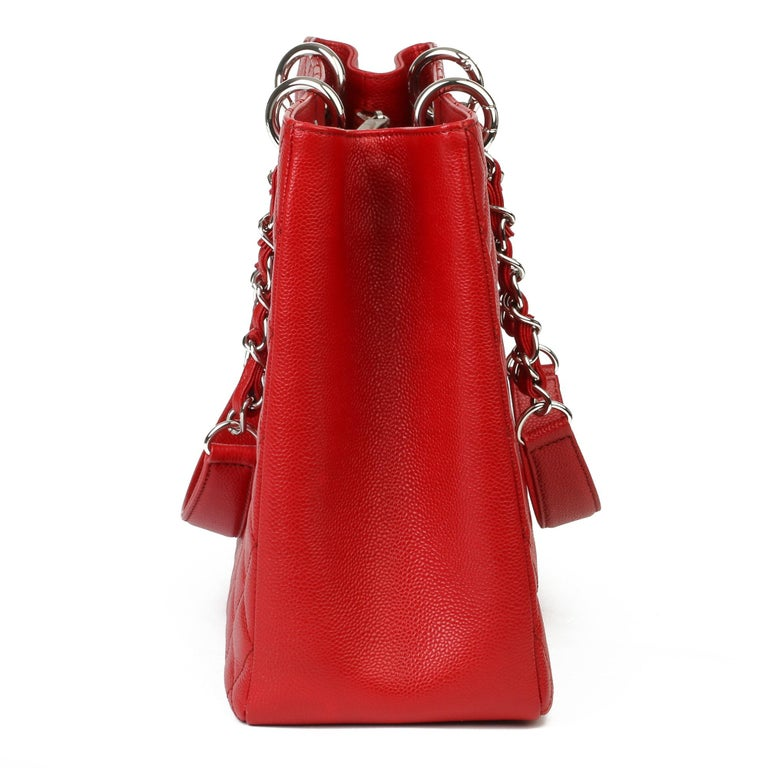 Women's 2012 Chanel Red Quilted Caviar Leather Grand Shopping Tote XL For Sale