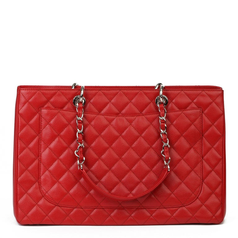 2012 Chanel Red Quilted Caviar Leather Grand Shopping Tote XL For Sale 1
