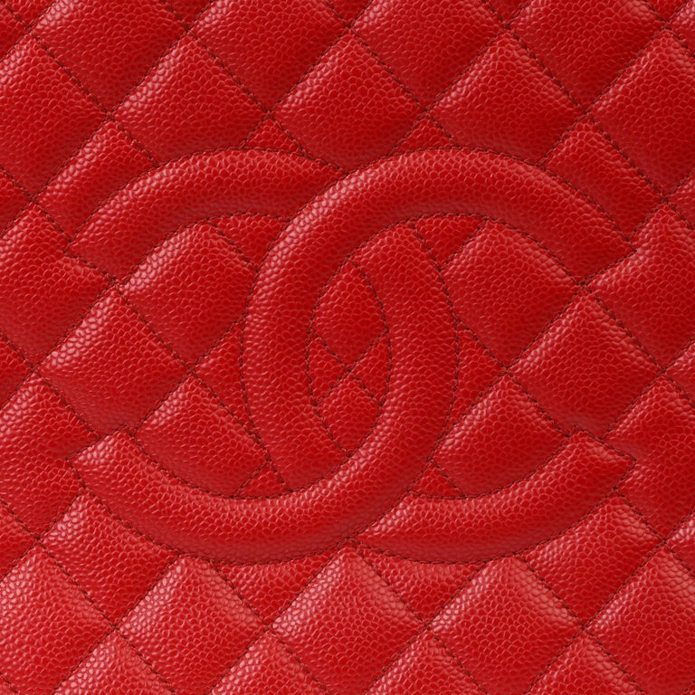 2012 Chanel Red Quilted Caviar Leather Grand Shopping Tote XL For Sale 3