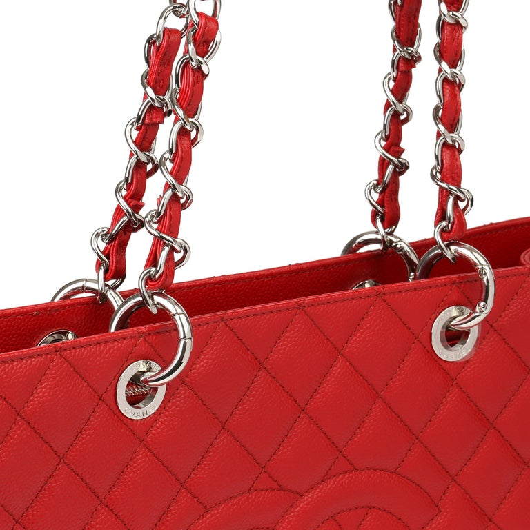 2012 Chanel Red Quilted Caviar Leather Grand Shopping Tote XL For Sale 4