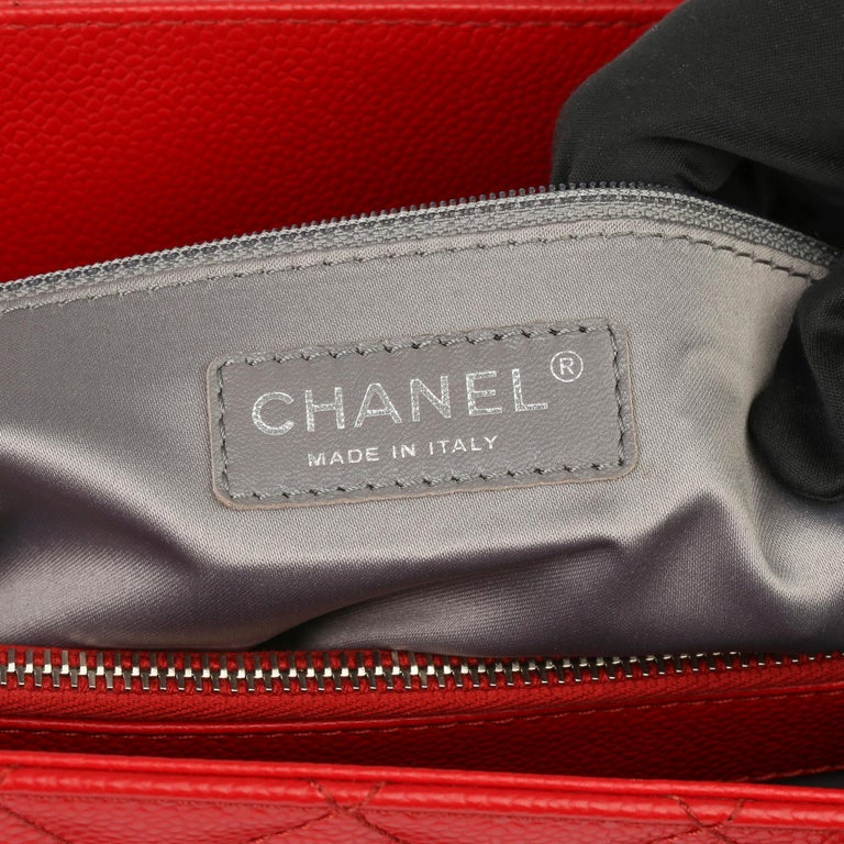 2012 Chanel Red Quilted Caviar Leather Grand Shopping Tote XL For Sale 5