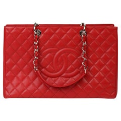 2012 Chanel Red Quilted Caviar Leather Grand Shopping Tote XL