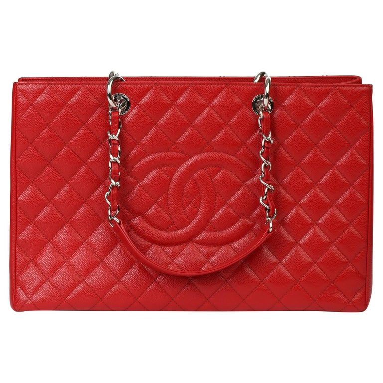 2012 Chanel Red Quilted Caviar Leather Grand Shopping Tote XL For Sale