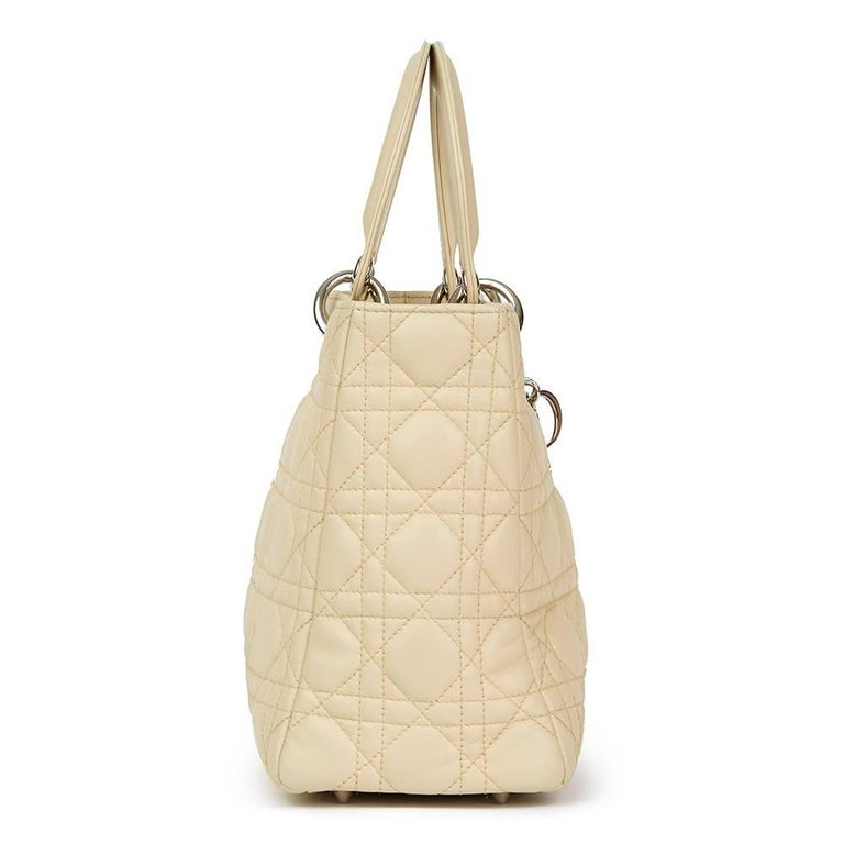 CHRISTIAN DIOR Beige Quilted Lambskin Lady Dior MM  Xupes Reference: HB1758 Serial Number: 08-MA-0112 Age (Circa): 2012 Accompanied By: Dior Dust Bag, Shoulder Strap Authenticity Details: Serial Stamp (Made in Italy) Gender: Ladies Type: Top Handle,