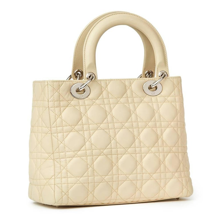 Beige 2012 Christian Dior Biege Quilted Lambskin Lady Dior MM For Sale