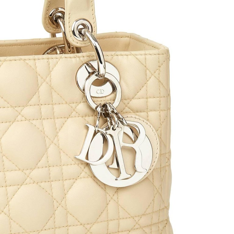 Women's 2012 Christian Dior Biege Quilted Lambskin Lady Dior MM For Sale