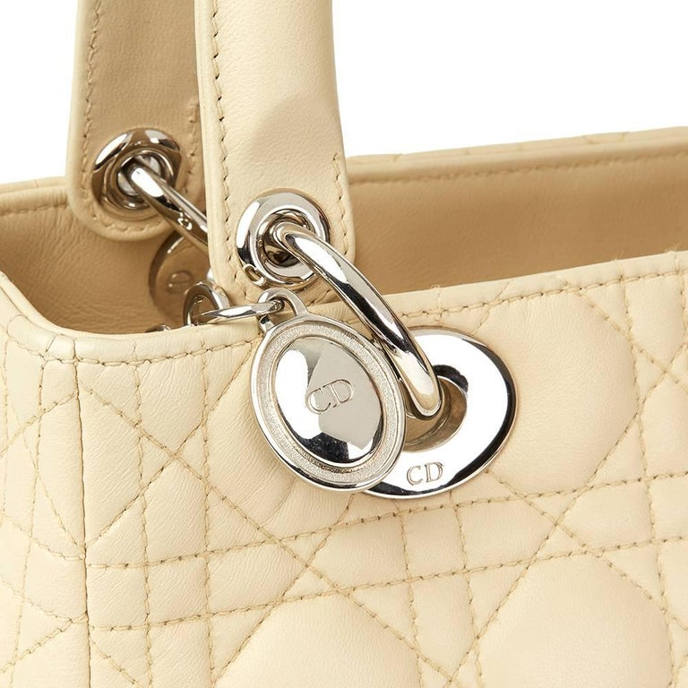 2012 Christian Dior Biege Quilted Lambskin Lady Dior MM For Sale 1