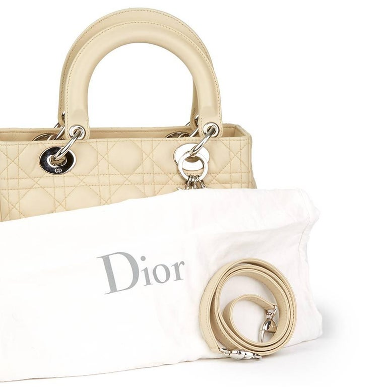 2012 Christian Dior Biege Quilted Lambskin Lady Dior MM For Sale 4