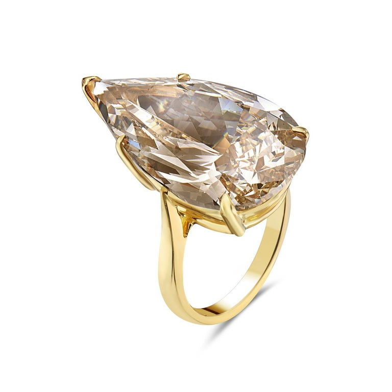 20.12 Fancy Brownish Yellow Pear Shape GIA Certified Engagement Ring In New Condition For Sale In New York, NY