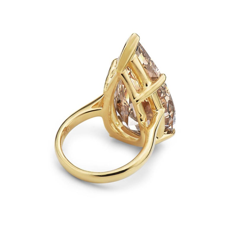 Women's 20.12 Fancy Brownish Yellow Pear Shape GIA Certified Engagement Ring For Sale