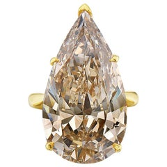 20.12 Fancy Brownish Yellow Pear Shape GIA Certified Engagement Ring
