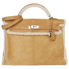 2012 Hermès Alezan Veau Doblis Suede & Shearling Teddy Peluche Kelly 40cm