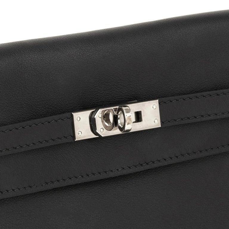2012 Hermès Black Swift Leather Kelly Danse For Sale 4