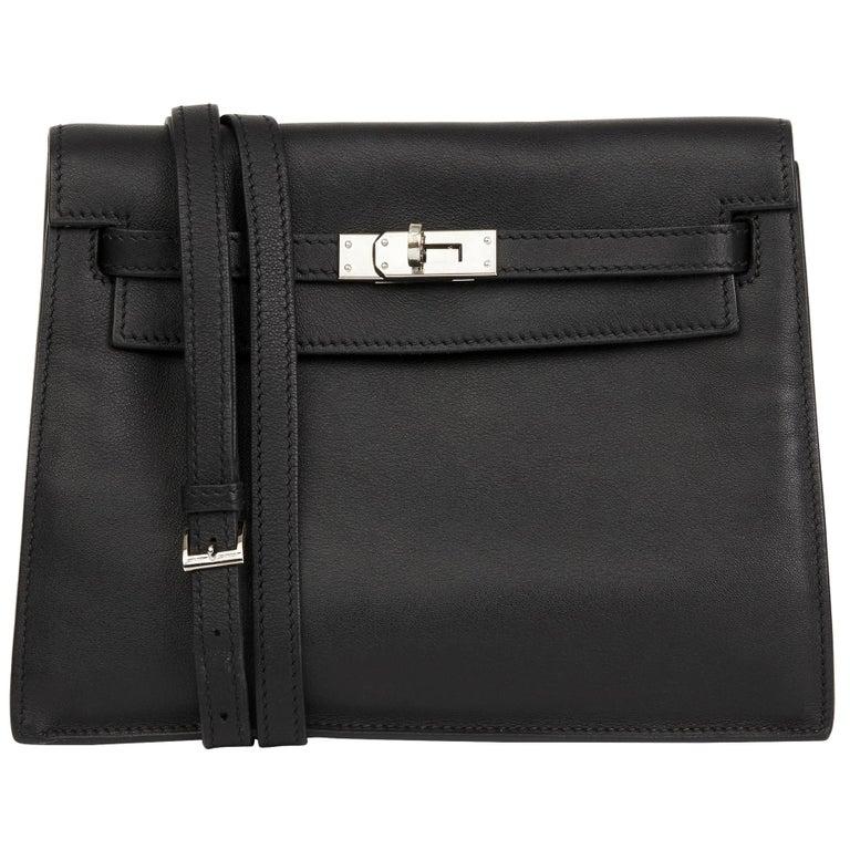2012 Hermès Black Swift Leather Kelly Danse For Sale