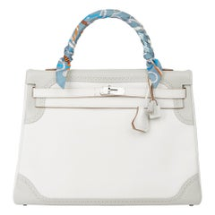 2012 Hermès Blanc & Gris Perle Swift Leather Ghillies Kelly 35cm Retourne