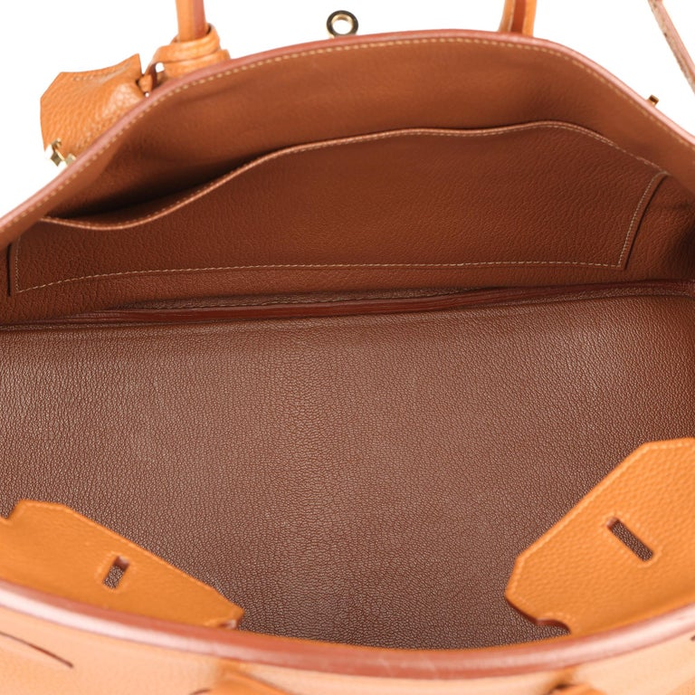 2012 Hermes Gold, Marron d'Inde Clemence Leather & Lizard Leather Club Birkin 35 For Sale 5