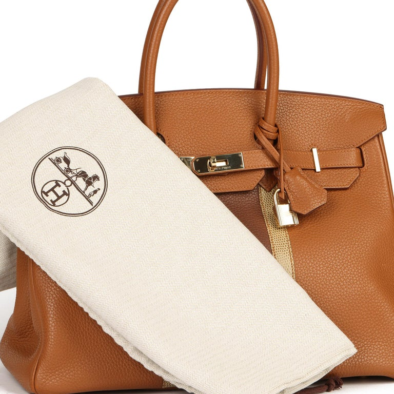 2012 Hermes Gold, Marron d'Inde Clemence Leather & Lizard Leather Club Birkin 35 For Sale 6