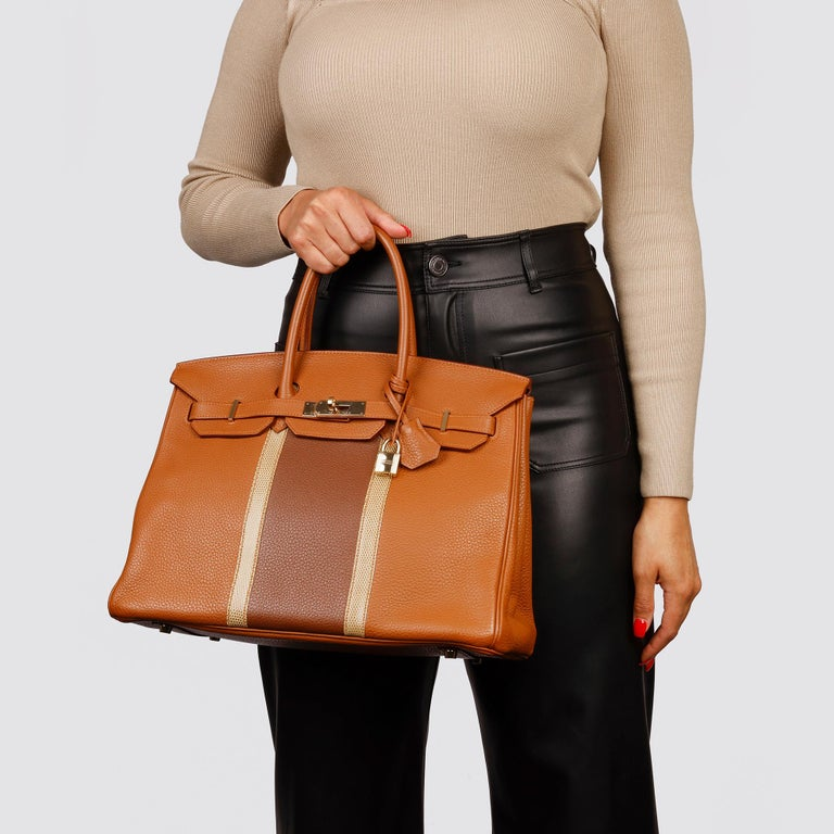 2012 Hermes Gold, Marron d'Inde Clemence Leather & Lizard Leather Club Birkin 35 For Sale 7