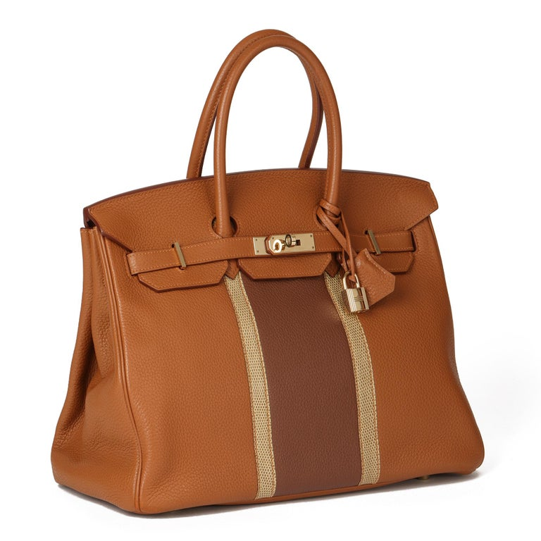 HERMÈS Gold, Marron d'Inde Clemence Leather & Ficelle Lizard Leather Club Birkin 35cm  Xupes Reference: CB295 Serial Number: [P] Age (Circa): 2012 Accompanied By: Hermès Dust Bag, Lock, Keys, Clochette Authenticity Details: Date Stamp (Made in