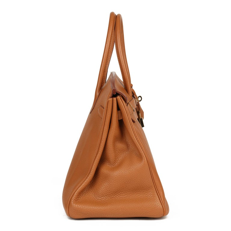 Brown 2012 Hermes Gold, Marron d'Inde Clemence Leather & Lizard Leather Club Birkin 35 For Sale
