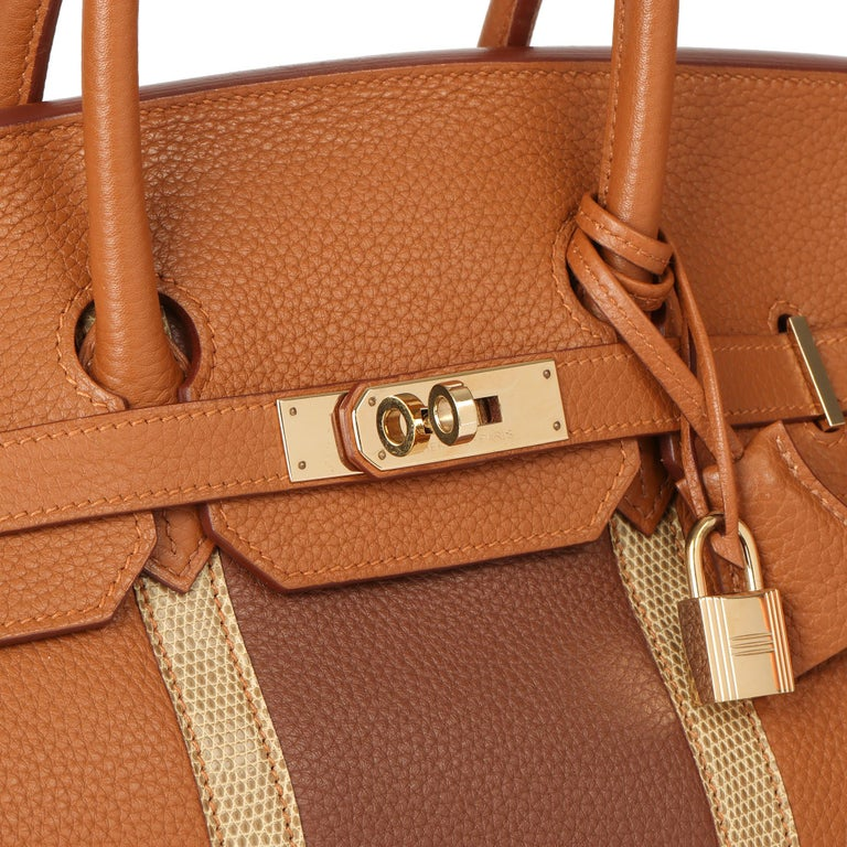 2012 Hermes Gold, Marron d'Inde Clemence Leather & Lizard Leather Club Birkin 35 For Sale 2