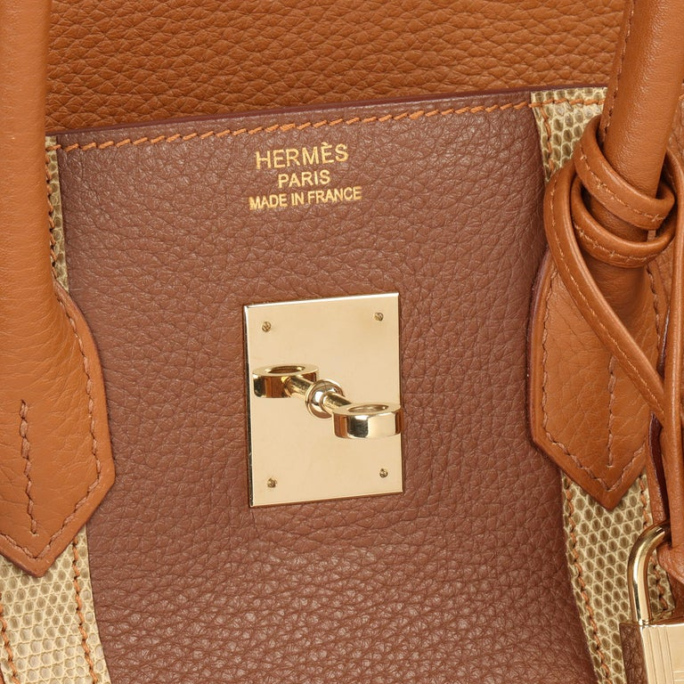 2012 Hermes Gold, Marron d'Inde Clemence Leather & Lizard Leather Club Birkin 35 For Sale 3