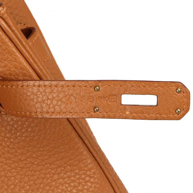 2012 Hermes Gold, Marron d'Inde Clemence Leather & Lizard Leather Club Birkin 35 For Sale 4