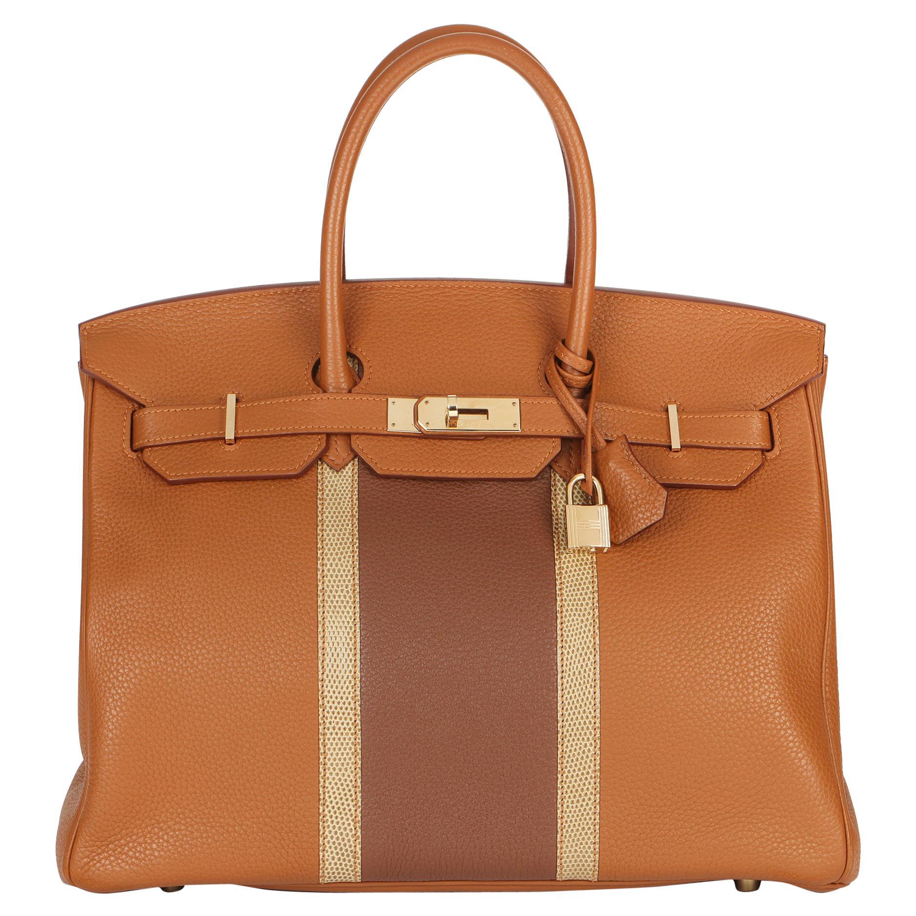 2012 Hermes Gold, Marron d'Inde Clemence Leather & Lizard Leather Club Birkin 35