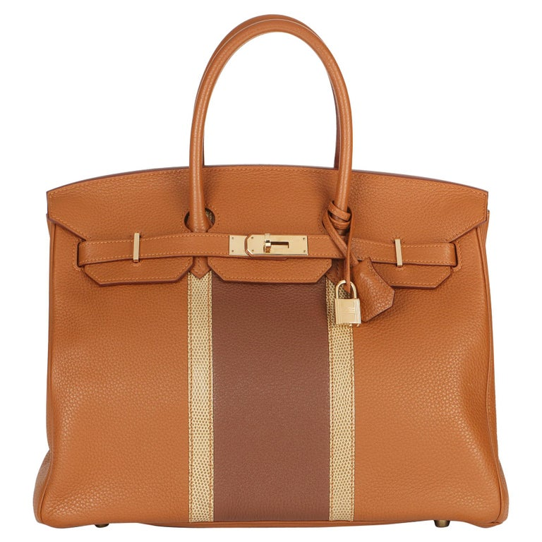 2012 Hermes Gold, Marron d'Inde Clemence Leather & Lizard Leather Club Birkin 35 For Sale