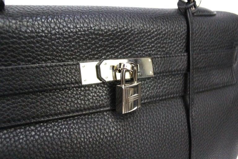 2012 Hermès Noir Leather Kelly Bag For Sale 2