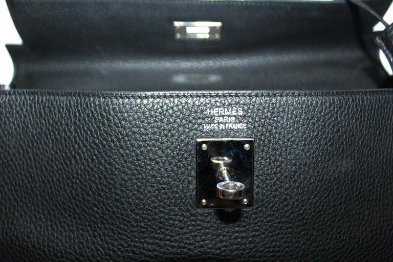 2012 Hermès Noir Leather Kelly Bag For Sale 3