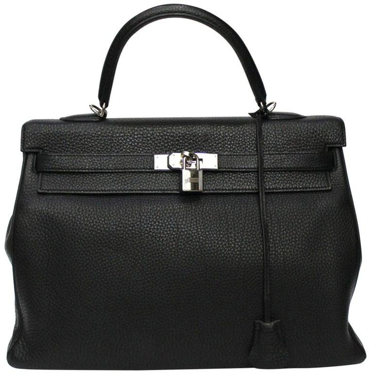 2012 Hermès Noir Leather Kelly Bag For Sale
