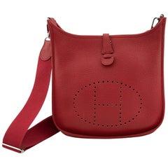 2012 Hermès Red Clemence PM III Evelyne Bag