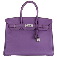 2012 Hermès Ultraviolet Clemence Leather Birkin 35cm
