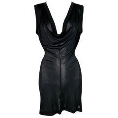 2012 Maison Martin Margiela Sheer Black Plunging Mini Dress